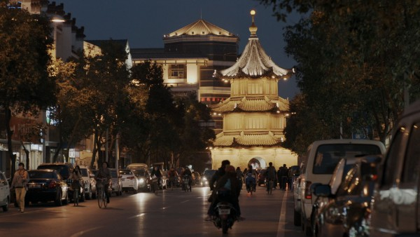Yangzhou's city center at night.