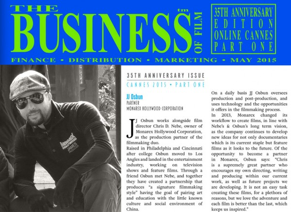 JJ Osbun featured in Business of Film Canne Edition