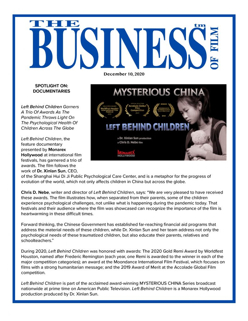 Left Behind Children Business of FIlm Article